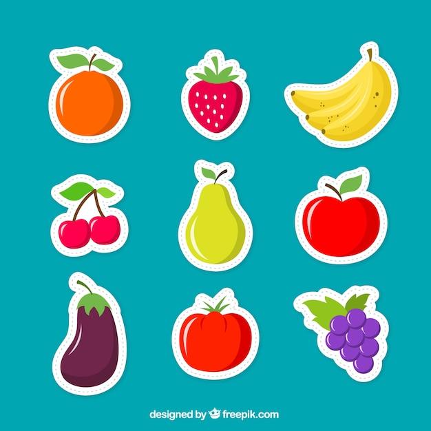 Frutas adesivos Vetor Premium