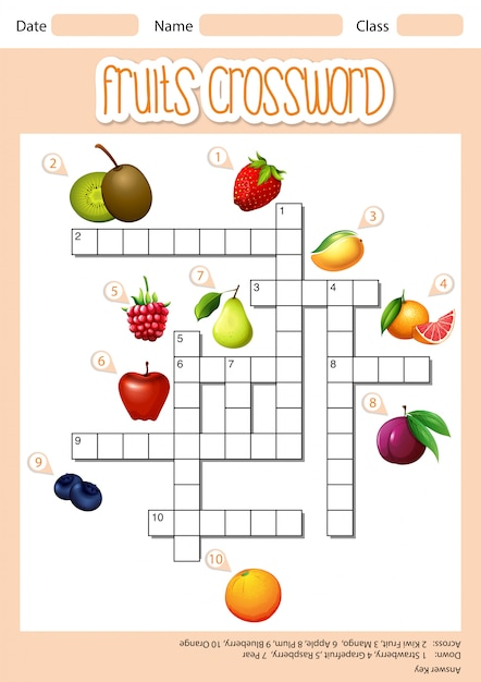 Frutas cruzam palavra Vetor grátis