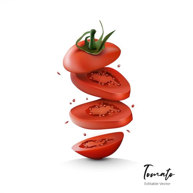 Frutas de tomate realista Vetor Premium