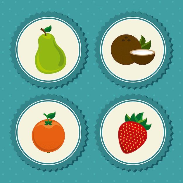 Frutas definir rótulo azul pontilhado Vetor grátis