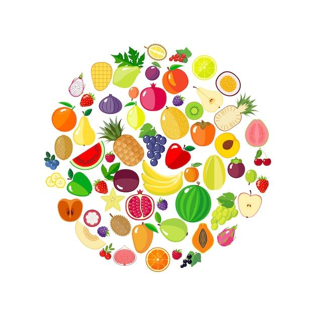 Frutas e bagas em forma de círculo Vetor Premium