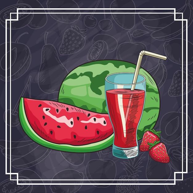 Frutas e bebidas desenhadas à mão Vetor Premium