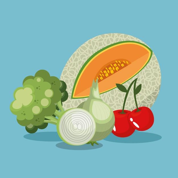 Frutas e legumes alimentos saudáveis Vetor grátis