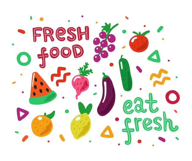 Frutas e legumes coloridos mão desenhada Vetor Premium