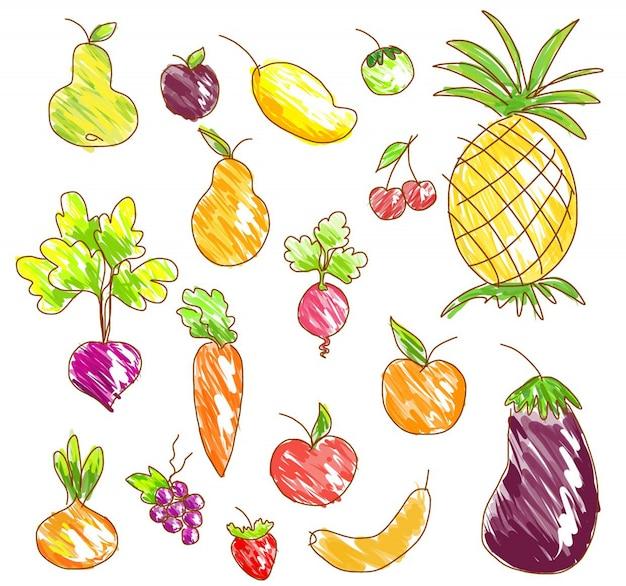 Frutas e legumes de vetor. Vetor Premium
