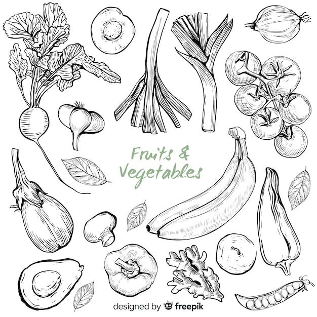 Frutas e legumes desenhados à mão Vetor grátis