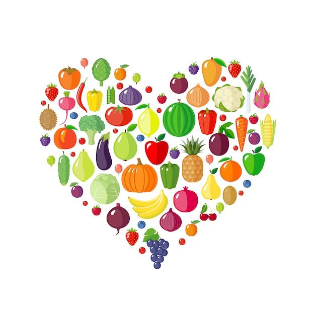 Frutas e legumes em forma de coração Vetor Premium