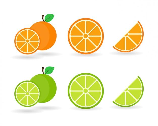 Frutas e limão laranja. laranjas que são segmentadas em um fundo branco. Vetor Premium