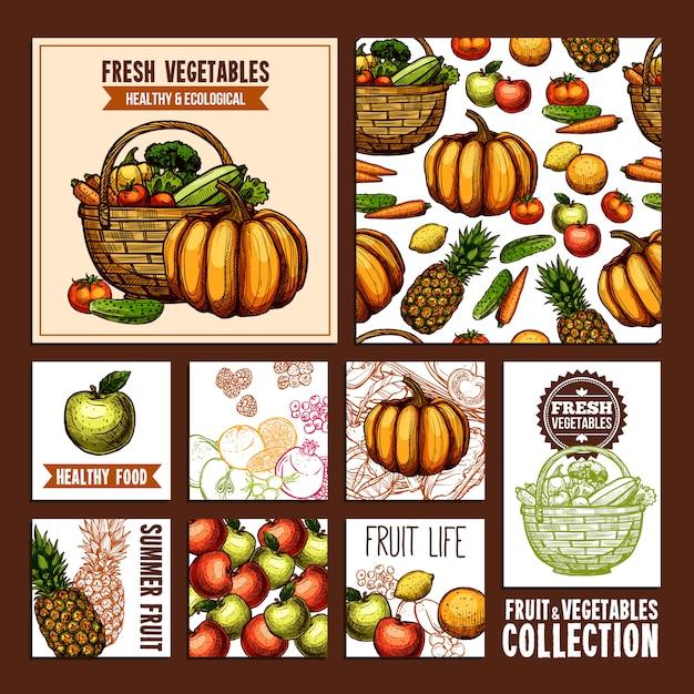 Frutas e vegetais postais Vetor grátis
