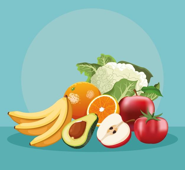 Frutas e vegetais Vetor Premium