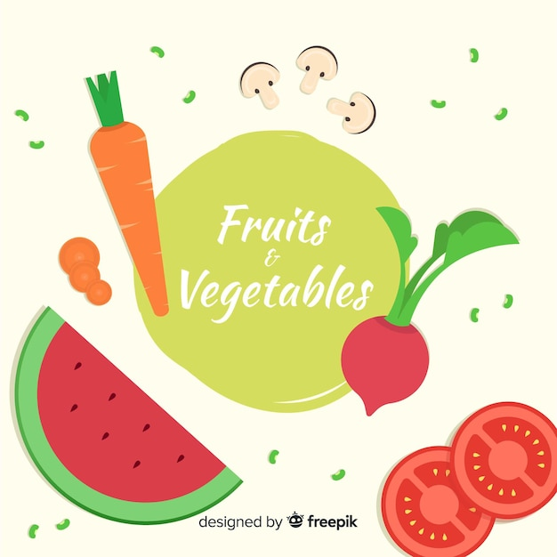 Frutas e vegetais Vetor grátis