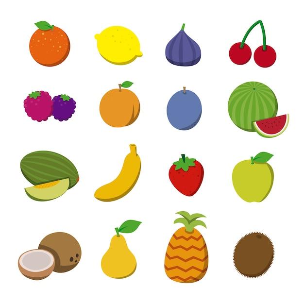 Frutas em estilo simples. Vetor Premium