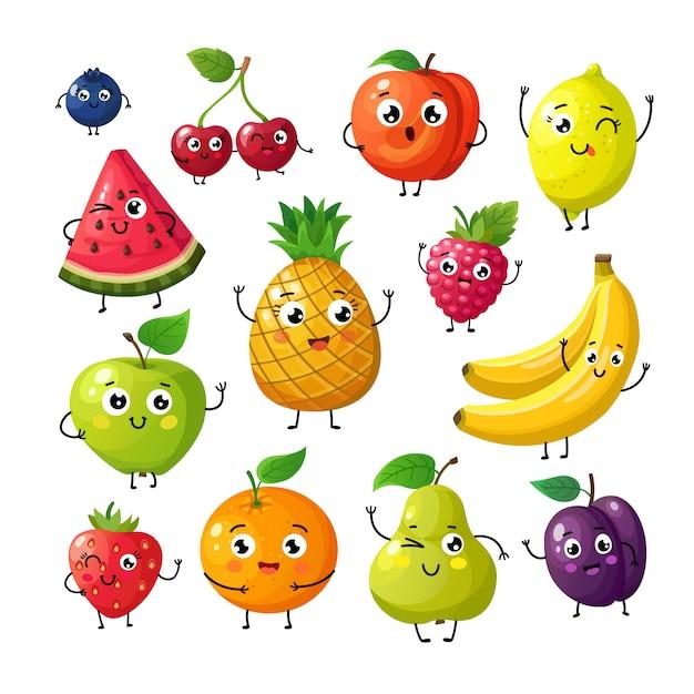 Frutas engraçadas dos desenhos animados. feliz kiwi banana framboesa laranja cereja com rosto. Vetor Premium