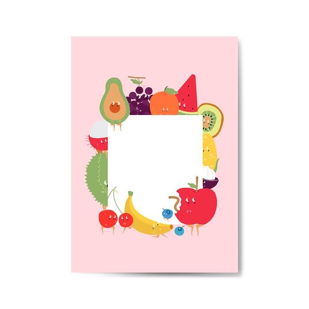 Frutas engraçadas tropicais cartoon vetor de quadro de personagem Vetor grátis