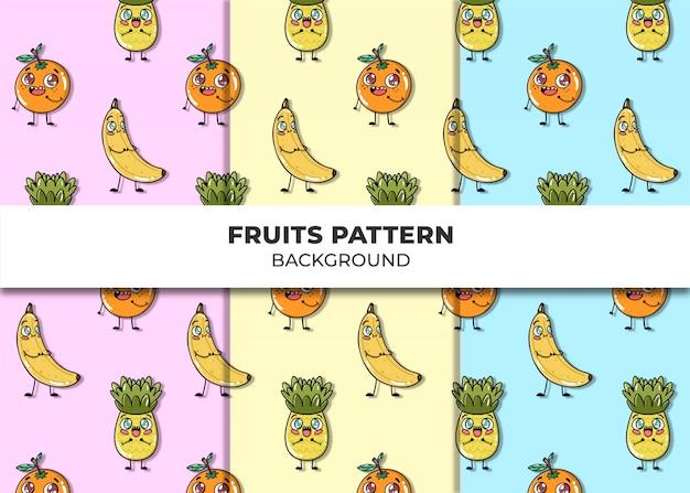 Frutas fofas padrão vector Vetor grátis