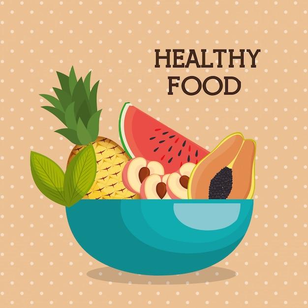 Frutas frescas alimentos saudáveis Vetor grátis
