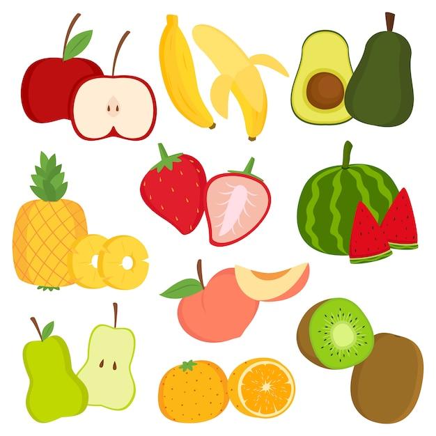 Frutas frescas e fatias de frutas cartum conjunto de vetores Vetor Premium