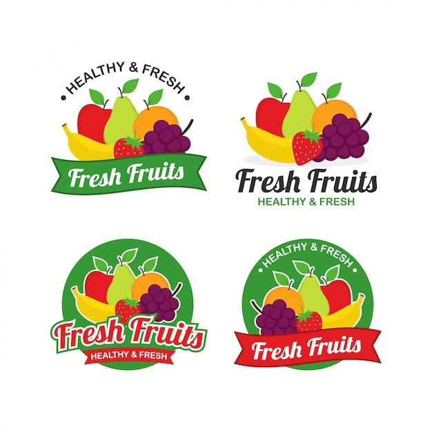Frutas frescas logo design vector Vetor Premium