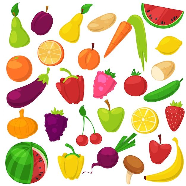 Frutas legumes nutrição saudável de banana maçã frutada e vegetativamente cenoura para vegetarianos que comem alimentos orgânicos de mercearia ilustração vegetated conjunto dieta isolada no fundo branco Vetor Premium