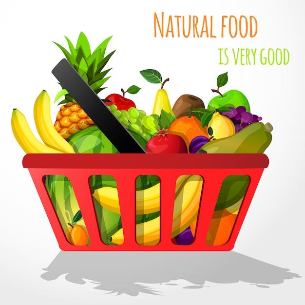 Frutas na ilustração de cesta de compras Vetor grátis