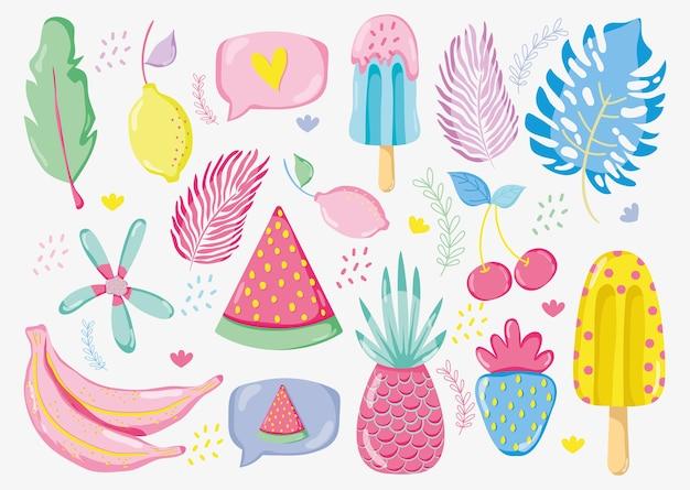 Frutas punchy pastel vector design gráfico de ilustração de vetor Vetor Premium