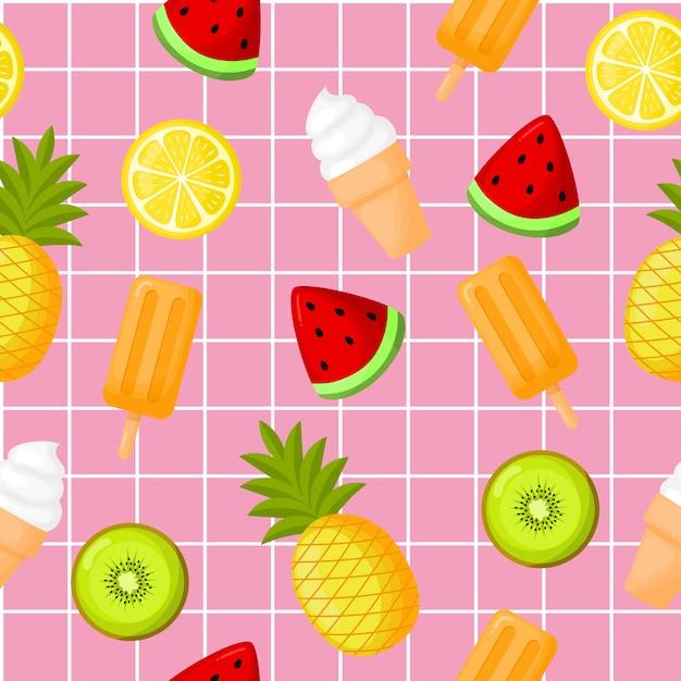 Frutas tropicais bonitos com padrão sem emenda de sorvete. limão, melancia, abacaxi e kiwi. Vetor Premium