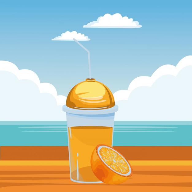 Frutas tropicais e smoothie drink Vetor grátis