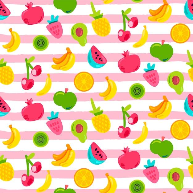Frutas tropicais, padrão sem emenda de bagas Vetor Premium