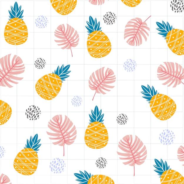 Frutos de abacaxi com folhas de monstera padrão de impressão Vetor Premium