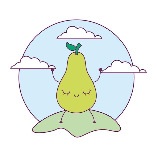 Frutos de pêra kawaii na paisagem Vetor Premium