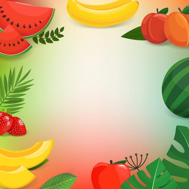 Frutos de verão e folhas de fundo vector Vetor Premium
