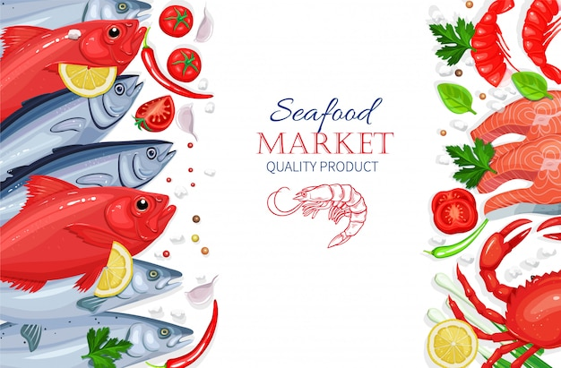 Frutos do mar. conceito de culinária comida saudável. Vetor Premium