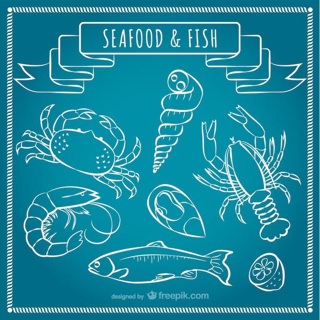 Frutos do mar e peixes vector Vetor grátis