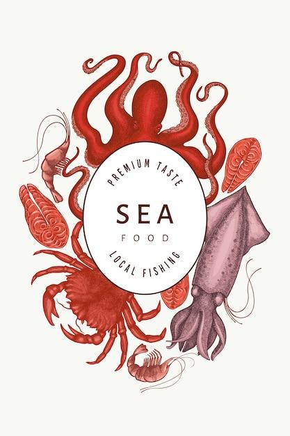 Frutos do mar. frutos do mar de mão desenhada. comida de estilo gravado. fundo de animais do mar retrô Vetor Premium
