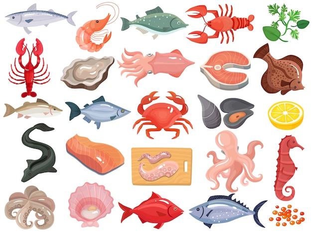 Frutos do mar plana ícones grande conjunto Vetor grátis