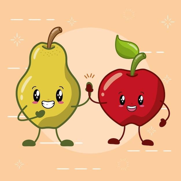 Frutos kawaii de pêra e maçã Vetor grátis