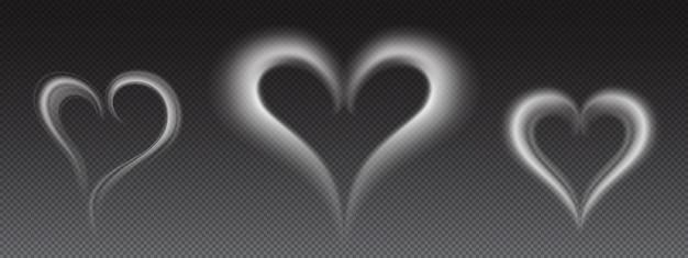 Fumaça branca realista de vetor em forma de coração Vetor grátis