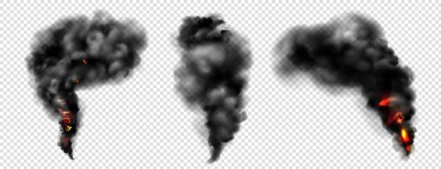 Fumaça negra com fogo, nuvens escuras de névoa ou trilhas de vapor Vetor grátis