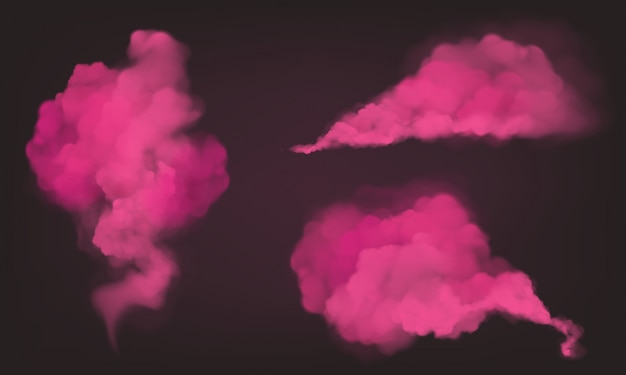 Fumaça rosa realista, pó mágico ou pó Vetor grátis