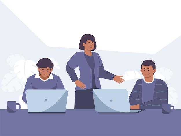Funcionários com pele negra trabalham em frente ao computador ilustração de conceito Vetor Premium
