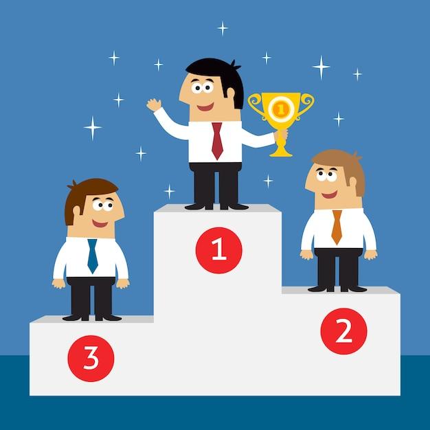 Funcionários da vida empresarial no pódio de vencedores Vetor grátis