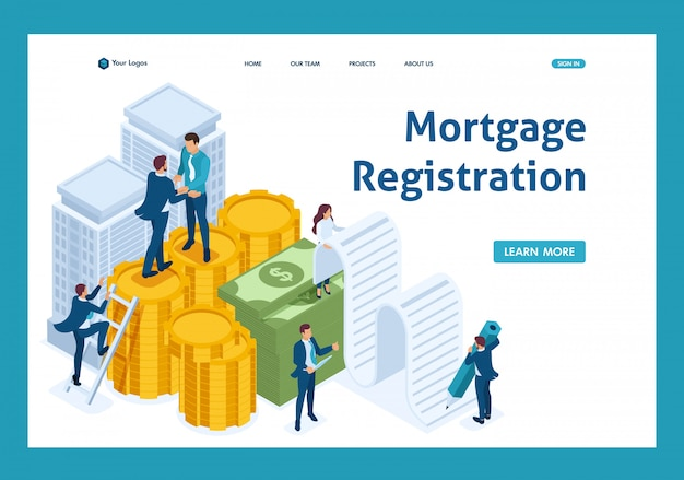 Funcionários do isometric bank criam um empréstimo hipotecário, empresários landing page Vetor Premium