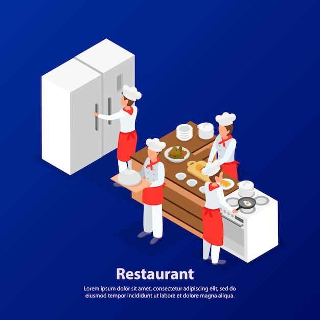 Funcionários do restaurante cozinhando na cozinha. ilustração em vetor 3d isométrica Vetor grátis