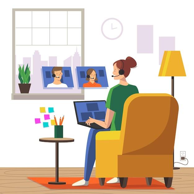 Funcionários trabalhando em casa conceito Vetor grátis