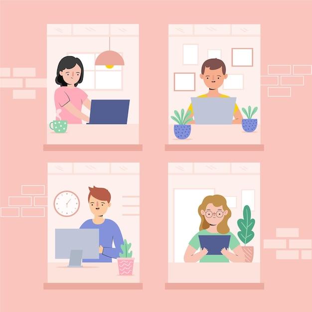 Funcionários trabalhando em casa ilustração Vetor grátis
