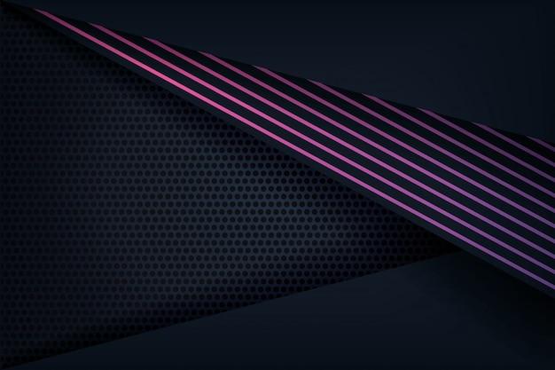 Fundo 3d abstrato com linhas roxas Vetor Premium