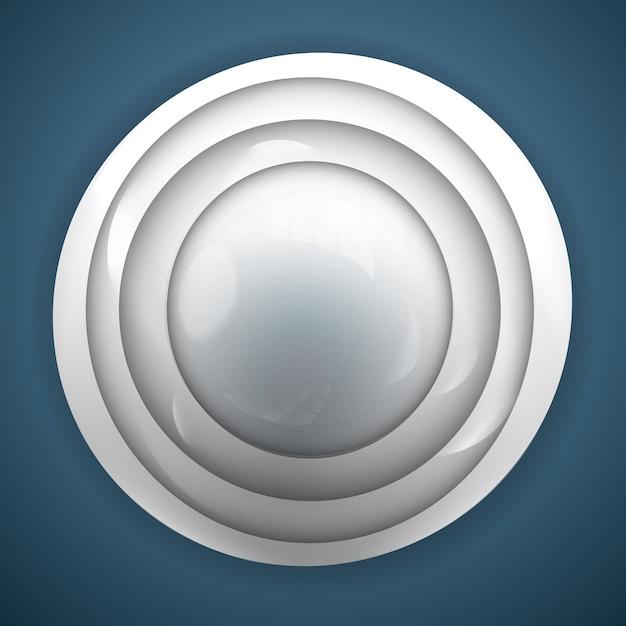 Fundo 3d abstrato para design com botão cinza realista Vetor grátis