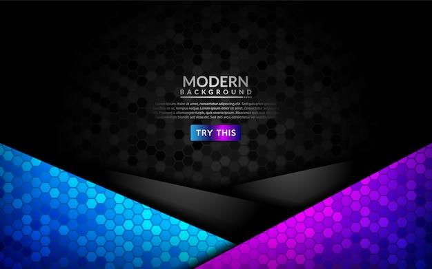 Fundo 3d escuro abstrato com inclinação roxo e azul. Vetor Premium