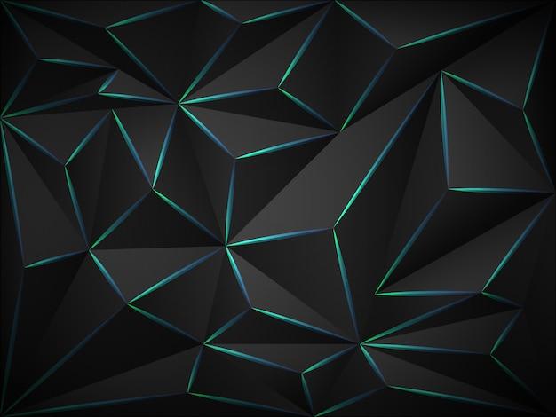 Fundo 3d escuro poli baixo com linhas de néon azuis. Vetor Premium