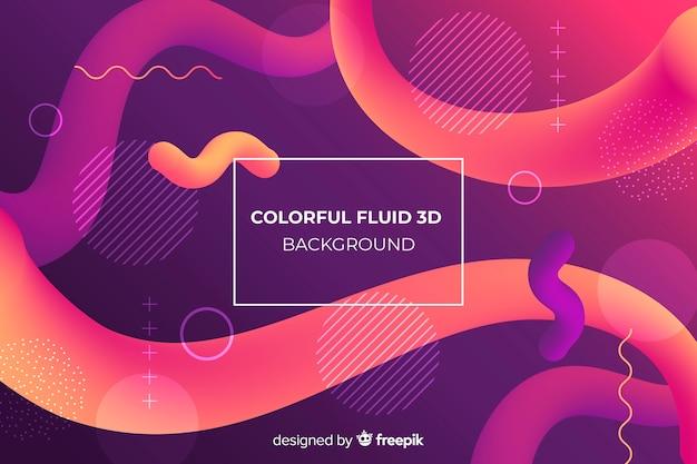 Fundo 3d fluido colorido Vetor grátis